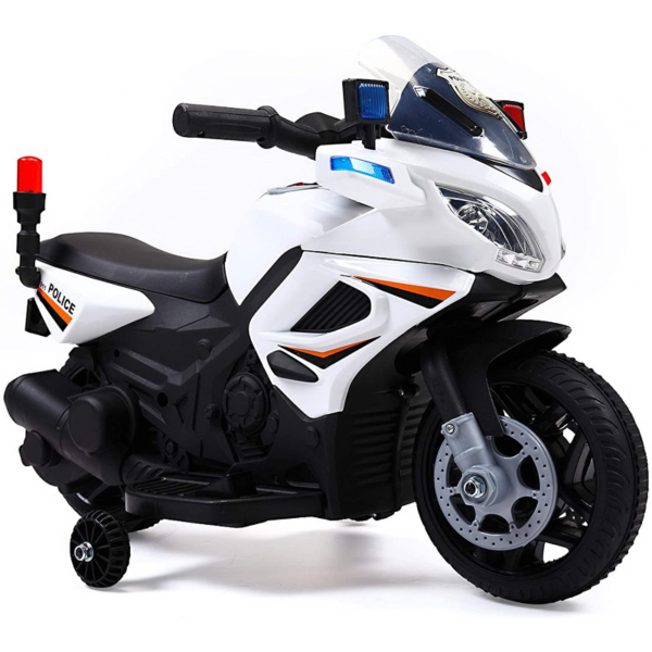 Electric Kids Ride On Police Motorcycle for 2-4 Years, White 下载 10 2