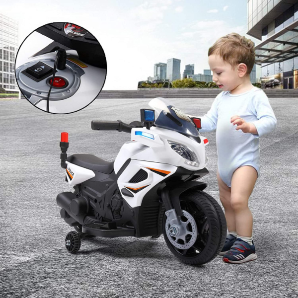 Electric Kids Ride On Police Motorcycle for 2-4 Years, White 下载 11 2