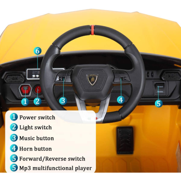 12V Lamborghini Licensed Electric Kids Ride on Car with Remote Control, Yellow 下载 2 2