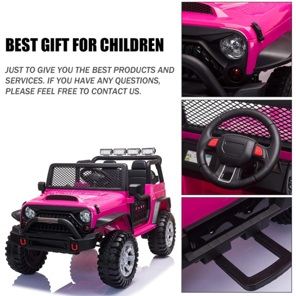 12V Electric Vehicles Ride On Truck for Kids with Remote Control, Rose Red 下载 2 3