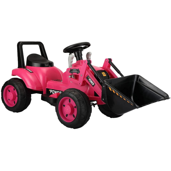 Electric Power Wheel Pedal Tractor for Kids with Working Loader, Pink 下载 21 2