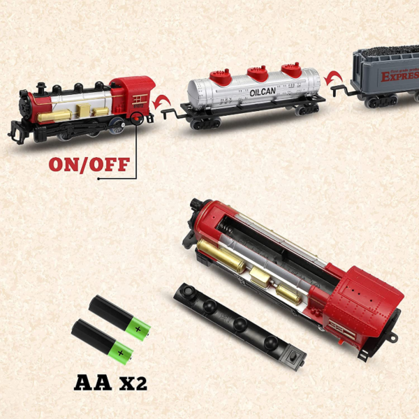 Battery-Powered Electric Train Toys with Sounds Include Cars and Tracks for Kids 下载 26 1
