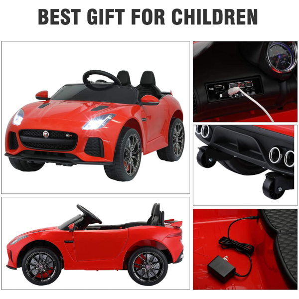 Jaguar F-Type SVR Kids Electric Ride on Car Toy with Dual Motor, Red 下载 29