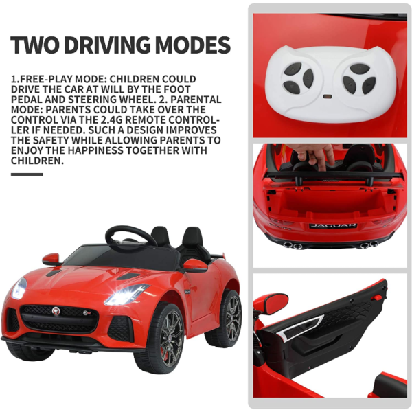 Jaguar F-Type SVR Kids Electric Ride on Car Toy with Dual Motor, Red 下载 30