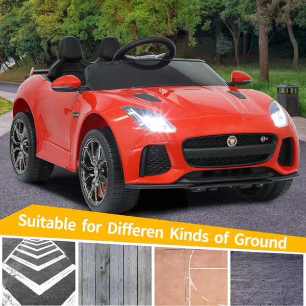 Jaguar F-Type SVR Kids Electric Ride on Car Toy with Dual Motor, Red 下载 31