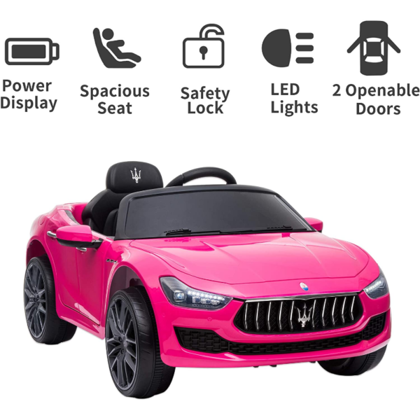 12V Maserati Licensed Kids Ride On Car with Remote Control, Pink 下载 32 2