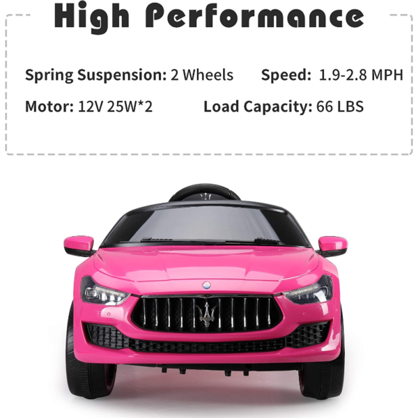 12V Maserati Licensed Kids Ride On Car with Remote Control, Pink 下载 33 2