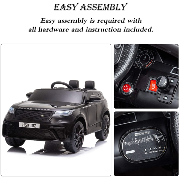 12V Land Rover Licensed Electric Kids Ride On Car with Remote Control, Black 下载 36