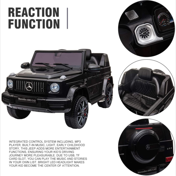 12V Mercedes-Benz AMG G63 Kids Ride On Cars Toys with Remote Control, Black 下载 4