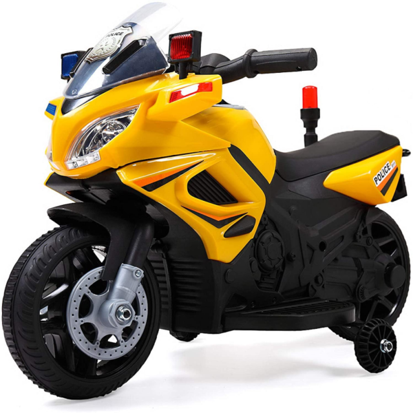 Electric Kids Ride On Police Motorcycle for 2-4 Years, Yellow 下载 46