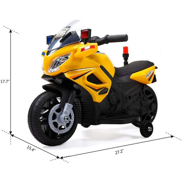 Electric Kids Ride On Police Motorcycle for 2-4 Years, Yellow 下载 47