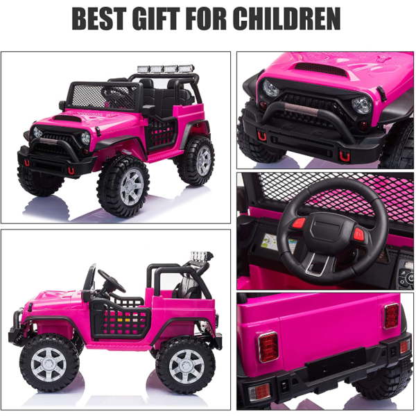 12V Electric Vehicles Ride On Truck for Kids with Remote Control, Rose Red 下载 5 3
