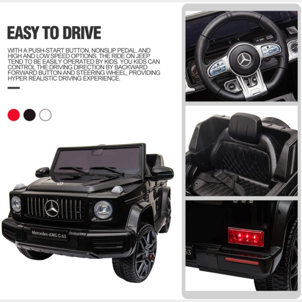 12V Mercedes-Benz AMG G63 Kids Ride On Cars Toys with Remote Control, Black 下载 5