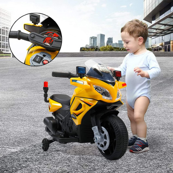 Electric Kids Ride On Police Motorcycle for 2-4 Years, Yellow 下载 51