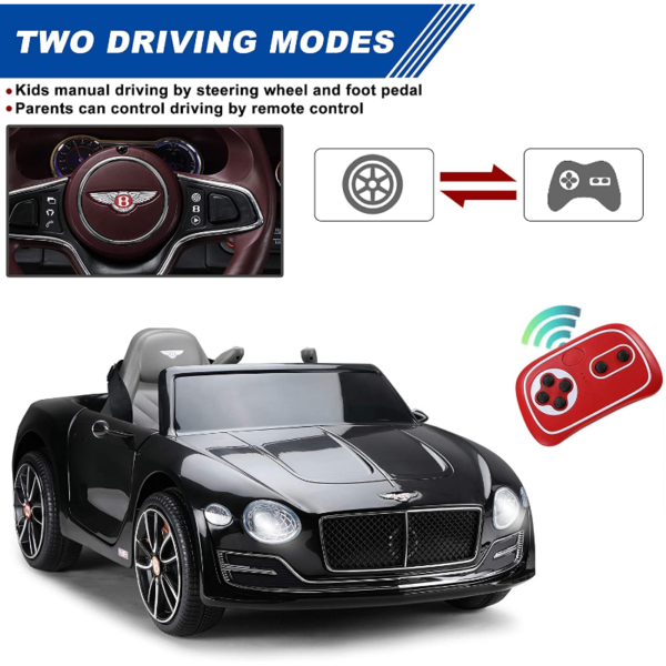 12V Bentley Licensed Electric Kids Ride On Car with Remote Control, Black 下载 69