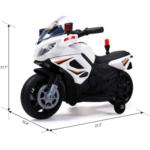 Electric Kids Ride On Police Motorcycle for 2-4 Years, White 下载 7 2