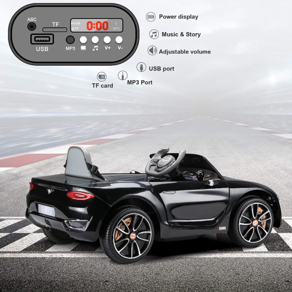 12V Bentley Licensed Electric Kids Ride On Car with Remote Control, Black 下载 71
