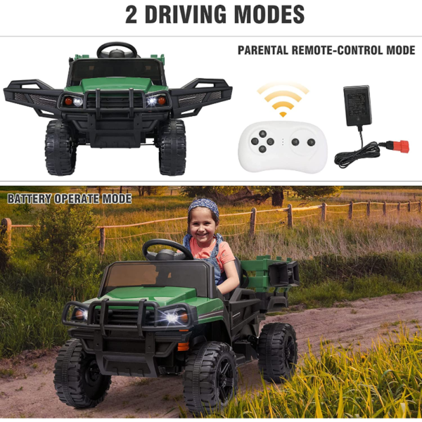 12V Battery Powered Kids Ride on Tractor with Remote Control, Army Green 下载 79