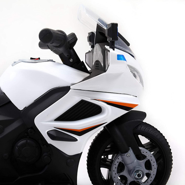 Electric Kids Ride On Police Motorcycle for 2-4 Years, White 下载 8 2