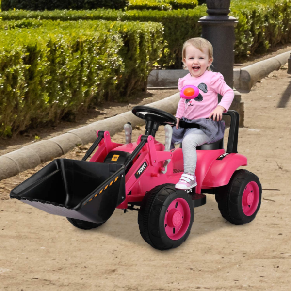 Electric Power Wheel Pedal Tractor for Kids with Working Loader, Pink 下载 90