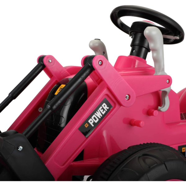 Electric Power Wheel Pedal Tractor for Kids with Working Loader, Pink 下载 91