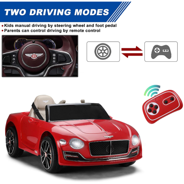 12V Bentley Licensed Electric Kids Ride On Racer Cars Toy with Remote Control, Red 下载 98