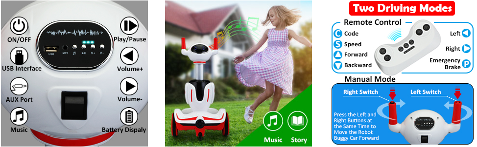 Three-in-one Robot Kids Electric Buggy With Baby Carriages, Red + White 微信图片 20210817100644