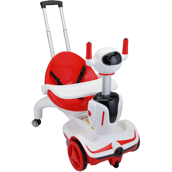 Three-in-one Robot Kids Electric Buggy With Baby Carriages, Red + White 1 1
