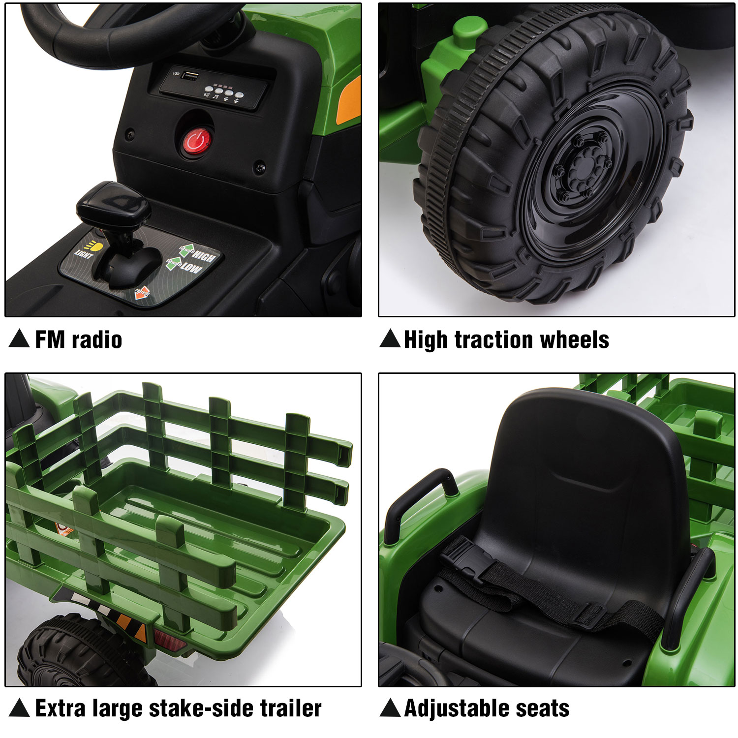 12V Electric Kids Ride-On Tractor with Trailer, Dark Green 1 11