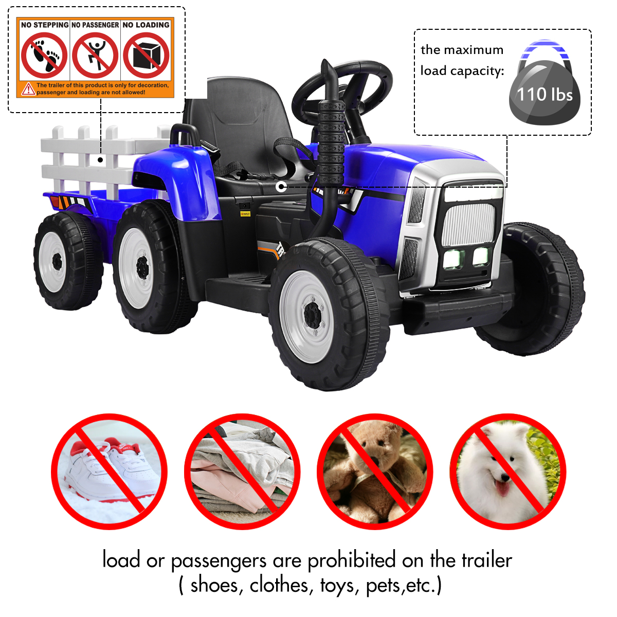 12V Electric Kids Ride-On Tractor with Trailer, Blue 1 12