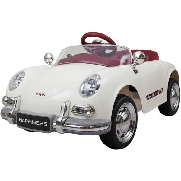 Vintage Style Battery Powered Kids Ride on Car with Remote Control, White 1 13