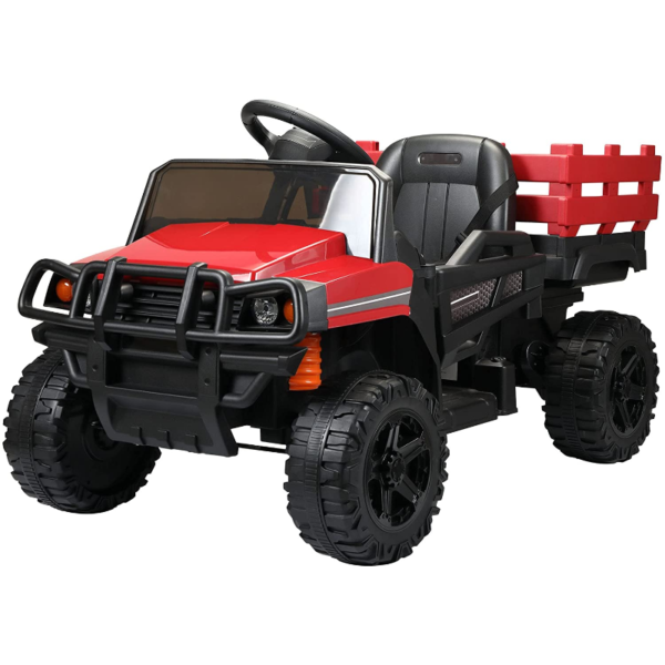 12V Electric Truck for Kids with Remote Control Ride On Toy with Trailer, Red 1 14