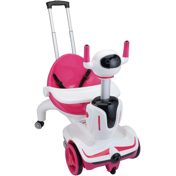 Three-in-one Robot Kids Electric Buggy With Remote Control & Baby Carriages, Rose Red + White 1 16