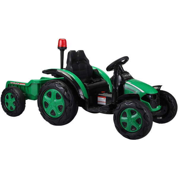 12V Electric Kids Ride on Tractor with Trailer for Boys and Girls, Jade Green 1 21