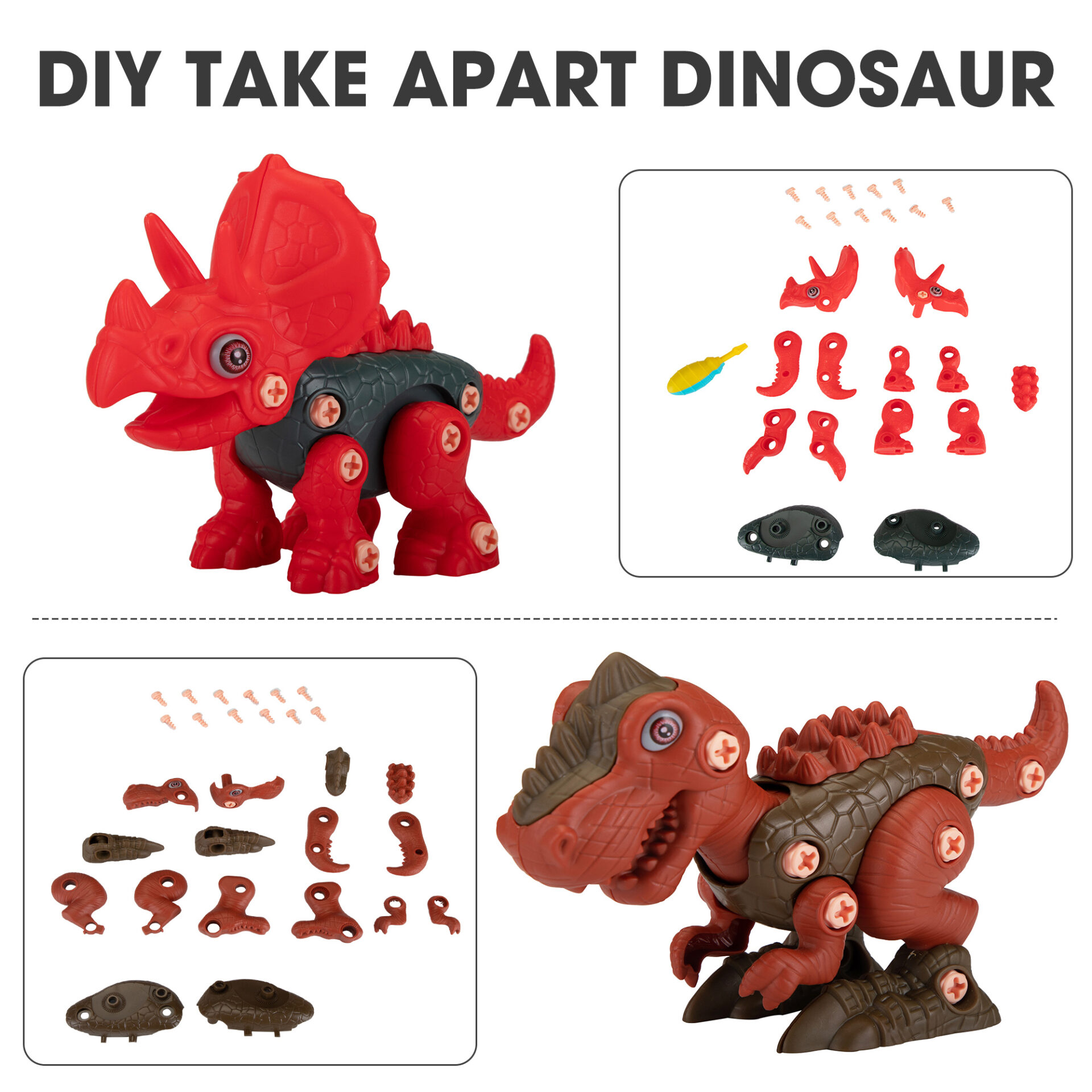 3 Packs Dinosaurs Construction Building Toy Set 1 3