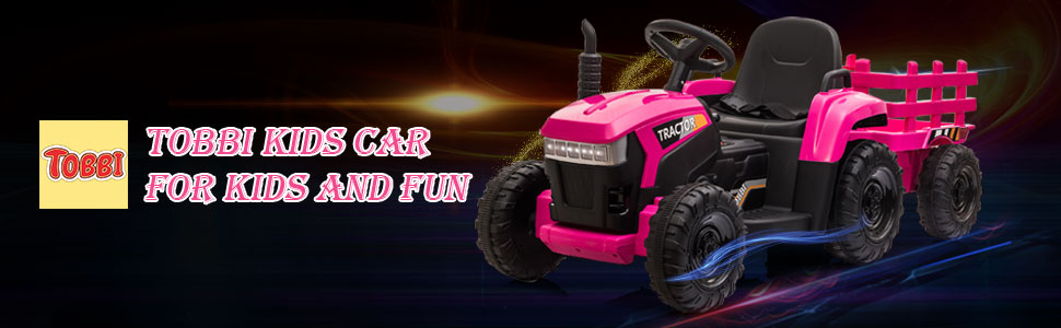 12V Battery-Powered Toy Tractor with Trailer and LED Lights 1 32