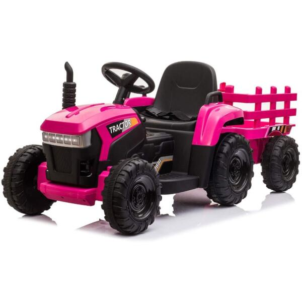 12V Battery-Powered Toy Tractor with Trailer and LED Lights 1 33