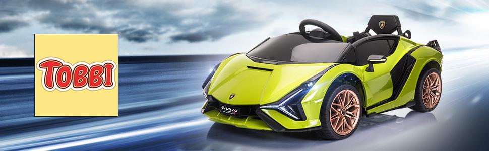 12V Licensed Lamborghini Sian Children's Electric Ride On Car, Green 1 38
