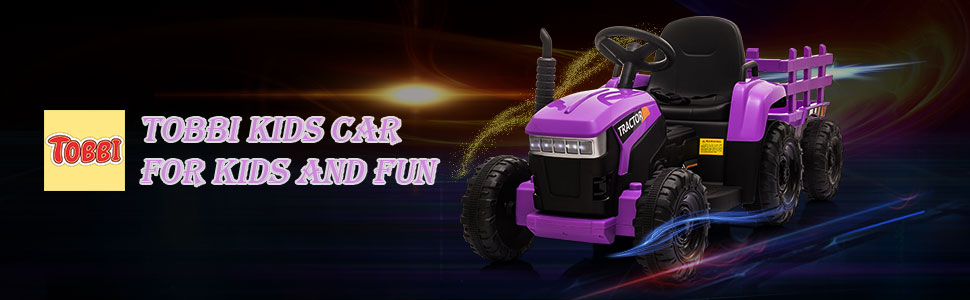 12V Battery-Powered Electric Tractor Kids Ride on Toy Gift, Purple 1 41
