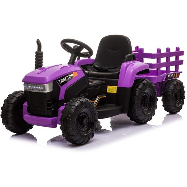 12V Battery-Powered Electric Tractor Kids Ride on Toy Gift, Purple 1 42