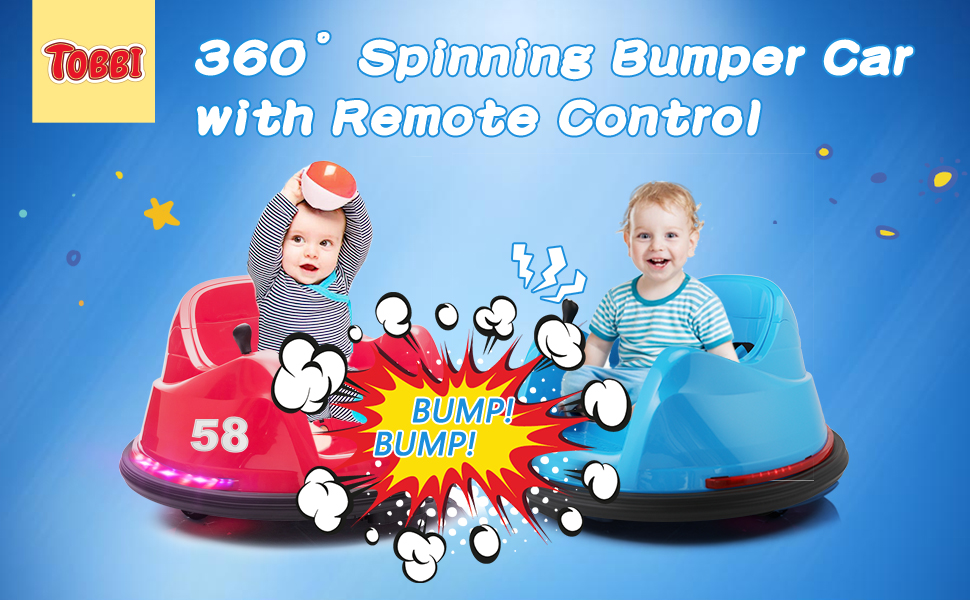 6V Electric Ride On 360 Spin Bumper Car for Kids with Remote Control, Red 1 43
