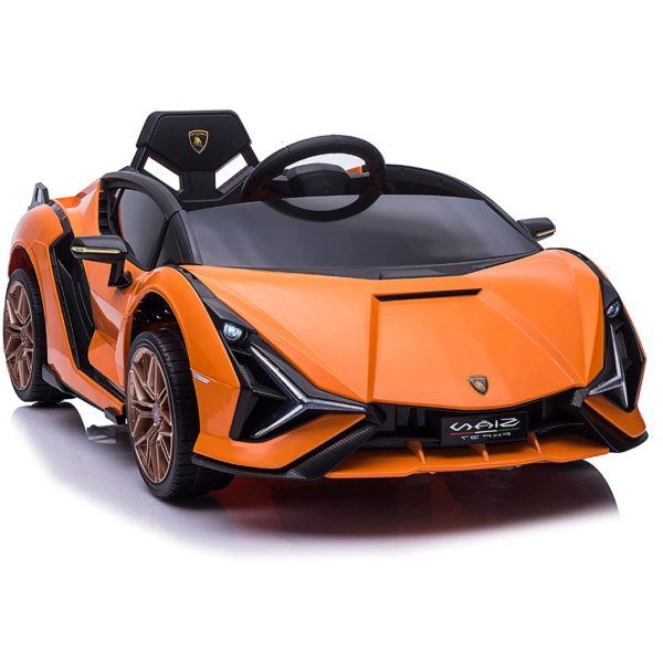 12V Licensed Lamborghini Sian Battery Powered Kids Ride On Car with Remote Control, Orange 1 5