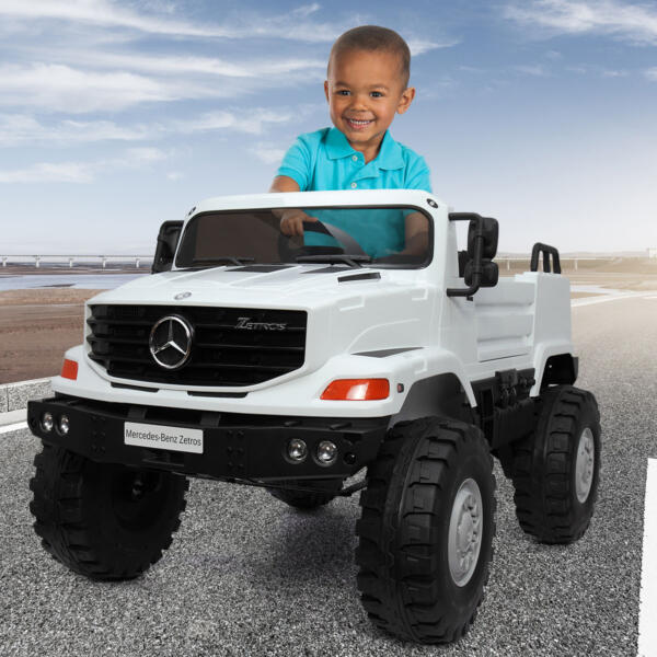 12V Mercedes Benz Truck For Kids With Remote, White 1 78
