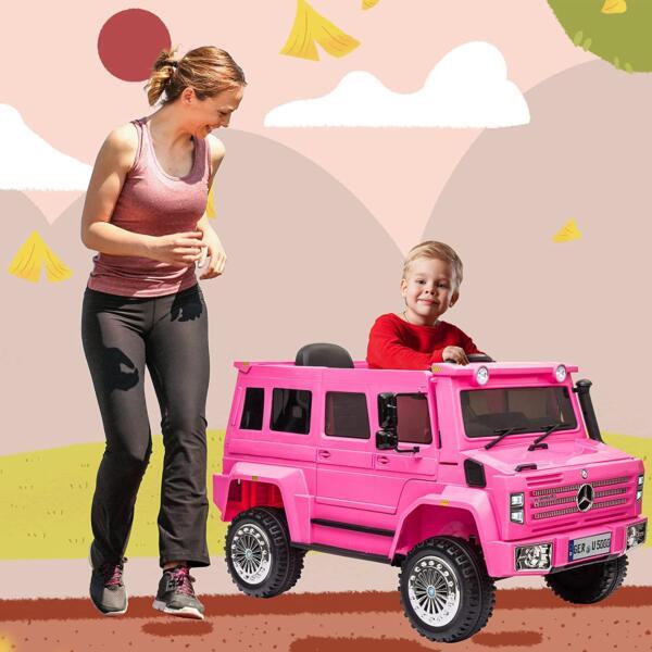 6V Mercedes Benz Unimog U500 Kids Ride on SUV Car with Remote Control, Rose Red 1 96