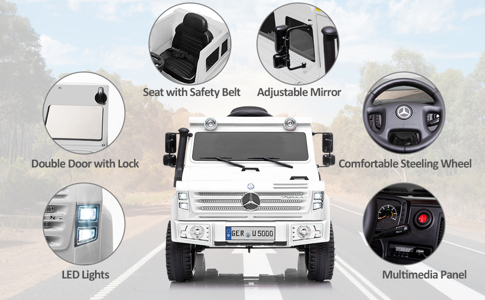 6V Mercedes Benz Unimog U500 Kids Ride on SUV Car with Remote Control, White 10 10