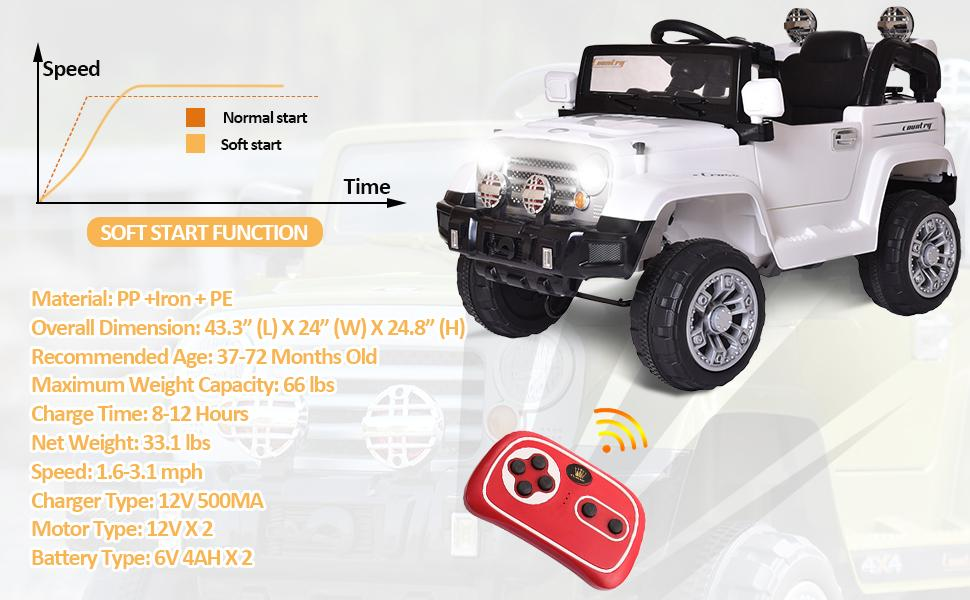 12V Kid Ride on Electric Truck Toy for Kids, White 10 12