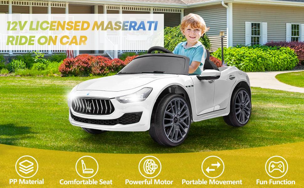 Maserati Kids Car 12V Ride On With Remote, White 10 15