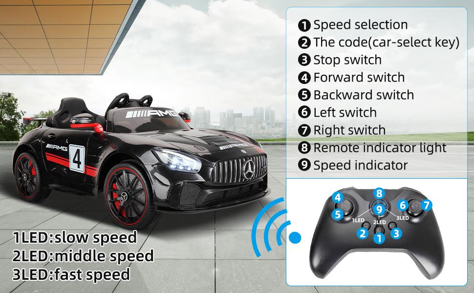 12V Electric Licensed Mercedes Benz AMG GT Kid Ride on Car, Black 10 3