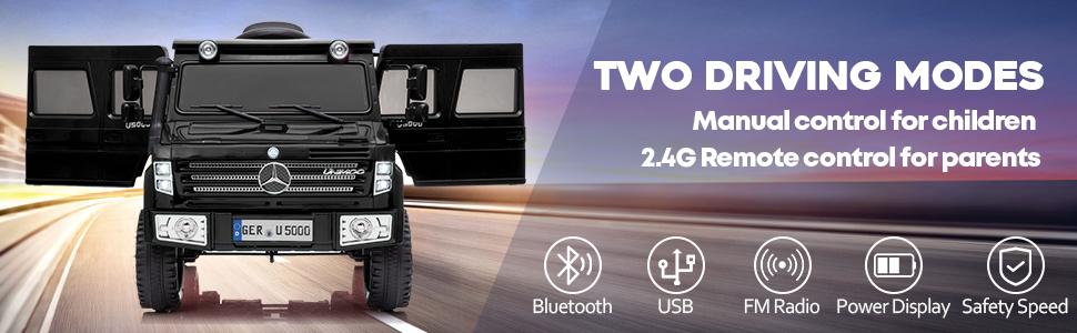 6V Mercedes Benz Unimog U500 Kids Ride on SUV Car with Remote Control, Black 10 8