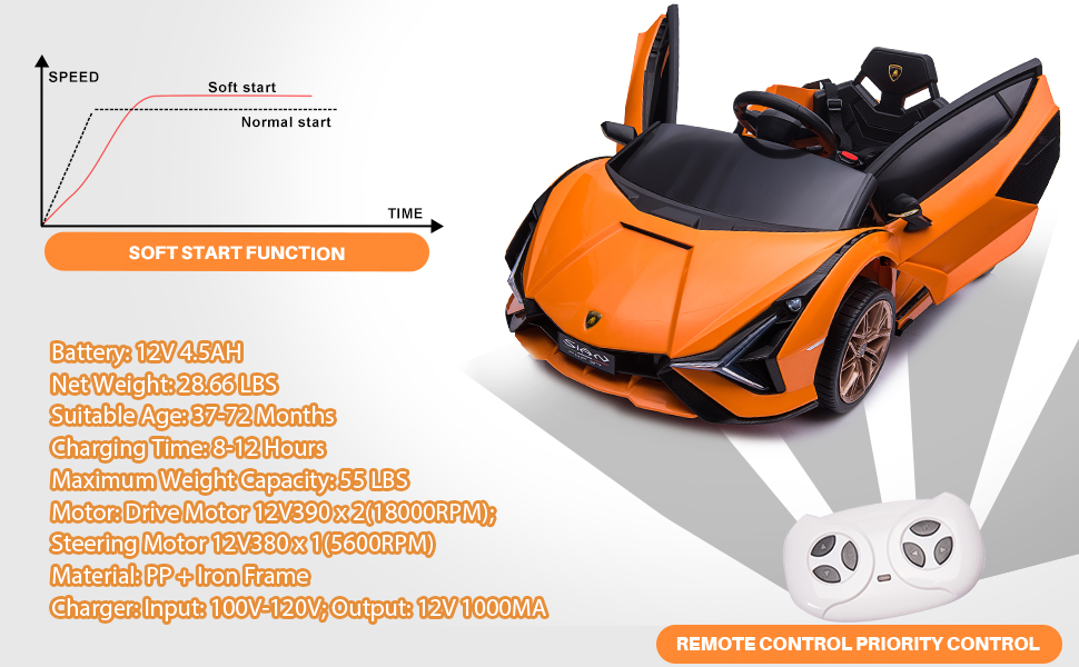 12V Licensed Lamborghini Sian Battery Powered Kids Ride On Car with Remote Control, Orange 11 1